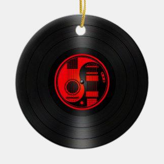 Gráfico rojo y negro del vinilo de las guitarras adorno redondo de cerámica