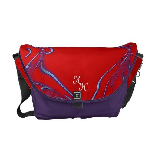 Gráfico rojo y púrpura del bolso del mensajero del bolsas de mensajeria