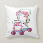 Gráfico rosado de lujo del cochecito de bebé cojines