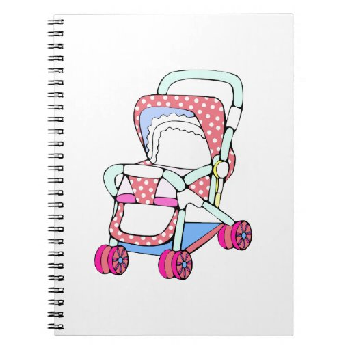 Gráfico rosado de lujo del cochecito de bebé libretas espirales