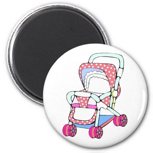 Gráfico rosado de lujo del cochecito de bebé imán redondo 5 cm