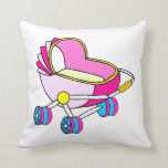 Gráfico rosado del carro de bebé del tema almohadas