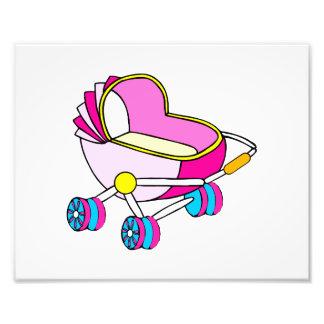 Gráfico rosado del carro de bebé del tema impresion fotografica