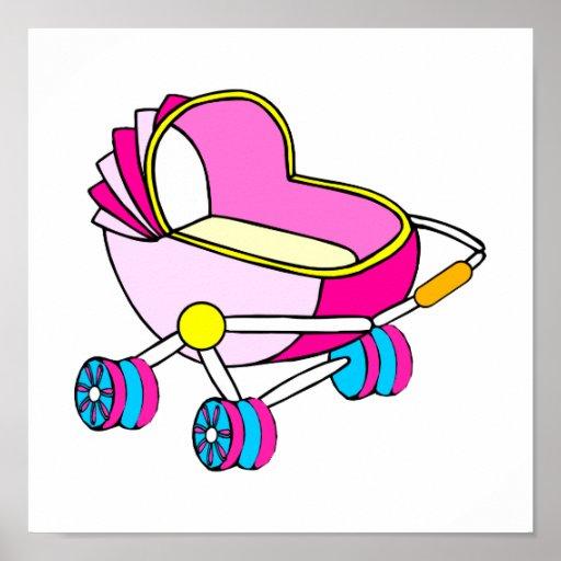 Gráfico rosado del carro de bebé del tema póster
