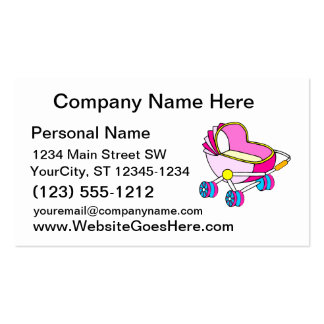Gráfico rosado del carro de bebé del tema tarjeta de negocio