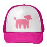 Gráfico rosado del perro de caniche gorras de camionero