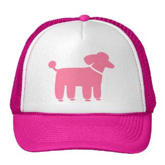 Gráfico rosado del perro de caniche gorros bordados
