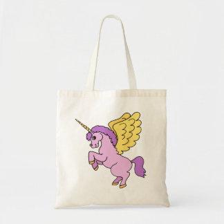Gráfico rosado del unicornio bolsa tela barata