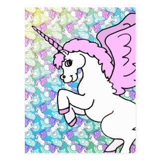Gráfico rosado y blanco del unicornio postal
