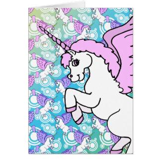 Gráfico rosado y blanco del unicornio tarjeta de felicitación