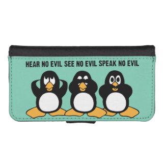 Gráfico sabio del diseño de tres pingüinos funda tipo billetera para iPhone 5