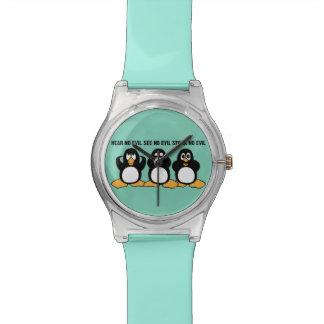 Gráfico sabio del diseño de tres pingüinos relojes de pulsera
