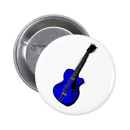 gráfico semi hueco d blue.png de la guitarra pin redondo 5 cm