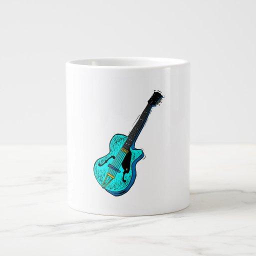 gráfico semi hueco l blue.png de la guitarra taza extra grande
