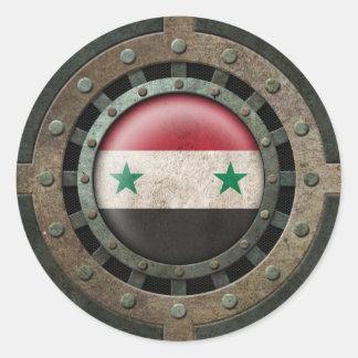 Gráfico sirio de acero industrial del disco de la pegatinas redondas