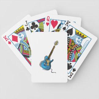 Gráfico sombreado amarillo azul de la guitarra baraja cartas de poker