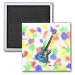 Gráfico sombreado amarillo azul de la guitarra imán de frigorifico