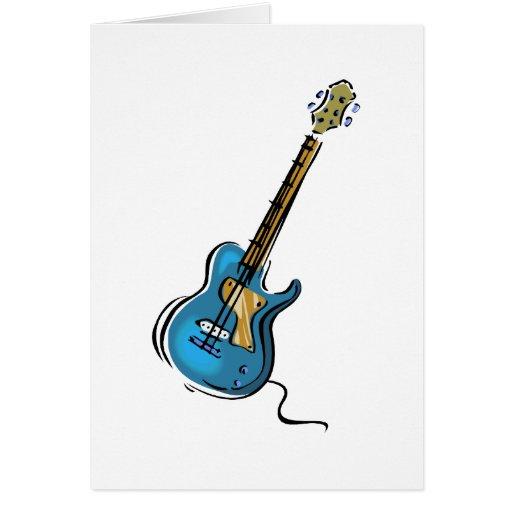 Gráfico sombreado amarillo azul de la guitarra tarjeta