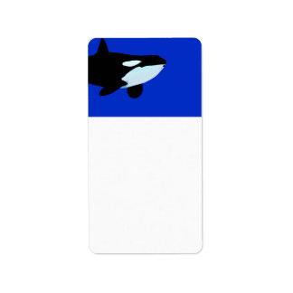 gráfico subacuático de la orca de la orca etiqueta de dirección
