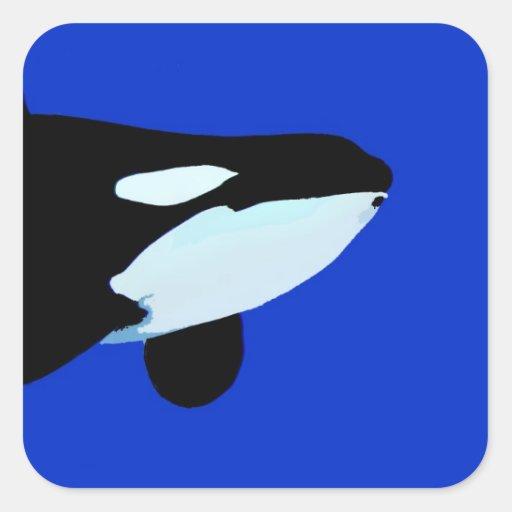 gráfico subacuático de la orca de la orca pegatina cuadrada