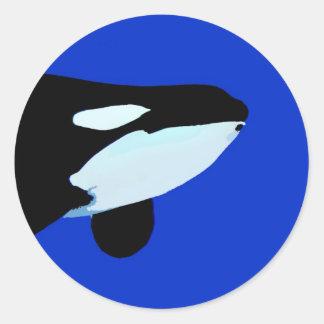 gráfico subacuático de la orca de la orca pegatina redonda