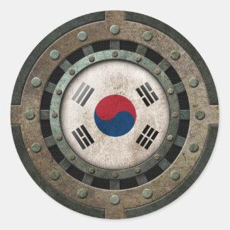Gráfico surcoreano de acero industrial del disco pegatina redonda