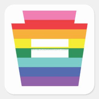 Gráfico trapezoidal del arco iris de la igualdad pegatina cuadrada