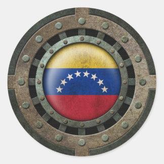 Gráfico venezolano de acero industrial del disco pegatinas redondas