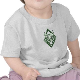 Gráfico verde de la cara del lobo del diamante camisetas