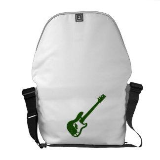 gráfico verde inclinado de la guitarra baja bolsas de mensajeria