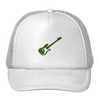 gráfico verde inclinado de la guitarra baja gorras