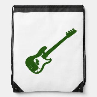 gráfico verde inclinado de la guitarra baja mochila