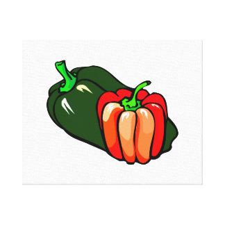 Gráfico verde y rojo de la pimienta impresiones en lona estiradas