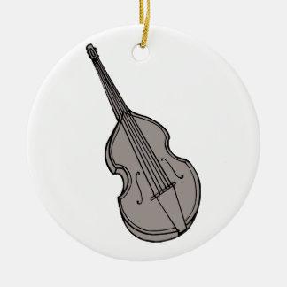 Gráfico vertical de la guitarra baja del violín adorno navideño redondo de cerámica