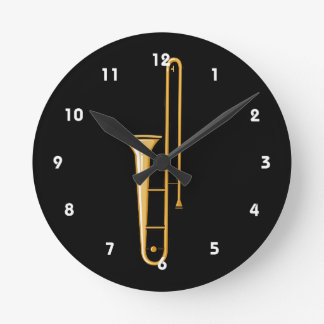 gráfico vertical del trombone reloj redondo mediano