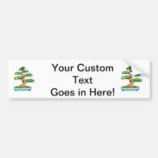 gráfico vertical green.png del árbol de los bonsai pegatina para auto