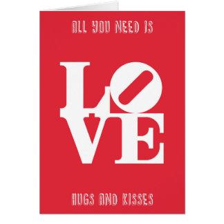 Gráfico y cita de la palabra del amor tarjeta de felicitación