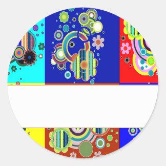 Gráficos coloridos elegantes por NAVIN CherryHill Pegatina Redonda