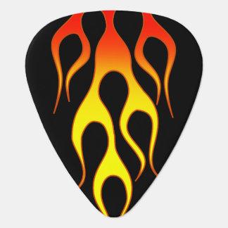 Gráficos de la llama del amarillo anaranjado púa de guitarra