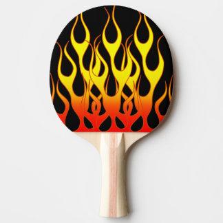 Gráficos de la llama del amarillo anaranjado pala de tenis de mesa