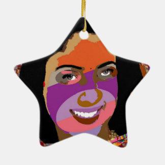 Gráficos del chica de la travesura de la diva en adorno de cerámica en forma de estrella