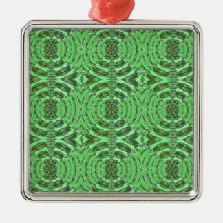 Gráficos del DIAMANTE del verde esmeralda Adorno Cuadrado Plateado