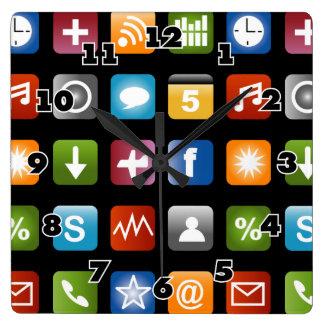 Gráficos del icono del app del vector de la divers reloj cuadrado