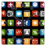 Gráficos del icono del app del vector de la reloj cuadrado