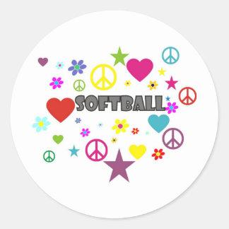 Gráficos mezclados del softball etiqueta redonda