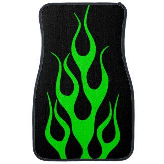 Gráficos verdes de la llama alfombrilla de auto