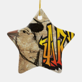Grafiti Artist Double-Sided Star Ceramic Christmas Ornament
