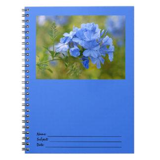 Grafito - flores azules del verano libro de apuntes con espiral