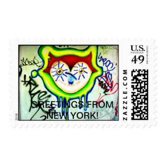 GRAFITTI CAT POSTAGE STAMP -GREETINGS FROM NEWYORK