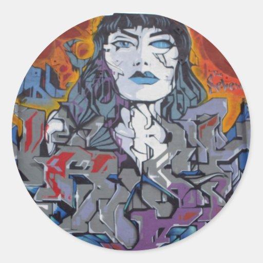 grafitti_girl pegatina redonda